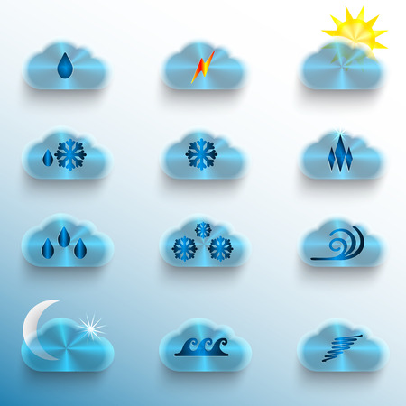 Light Blue Infographics Metallic Textured Icon Set  with clouds, containing different weather condition signs