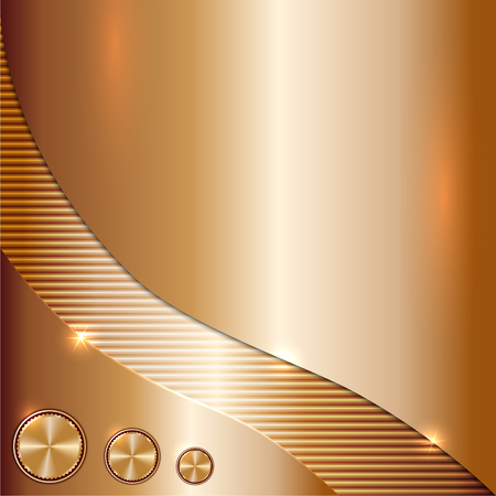 Vector metal copper background with curve and tunes
