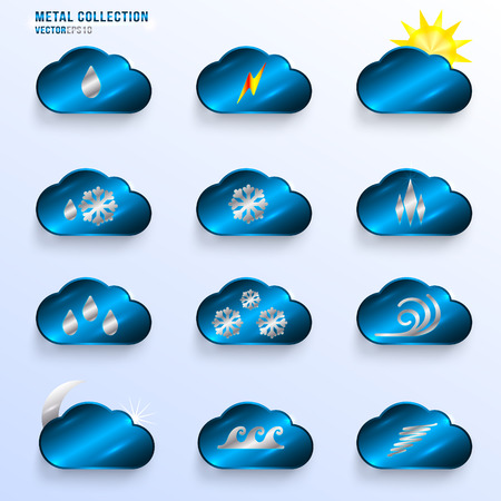 Dark Blue Infographics Metallic Icon Set  with clouds, containing different weather condition signs