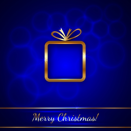 Vector Christmas Greeting Card with Golden Gift on Blue Background Çizim