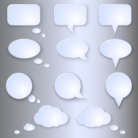 Vector Set of Empty Speech Bubbles on Grey Background