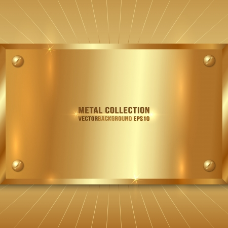 Vector Metallic Award Golden Plate with Screws Çizim