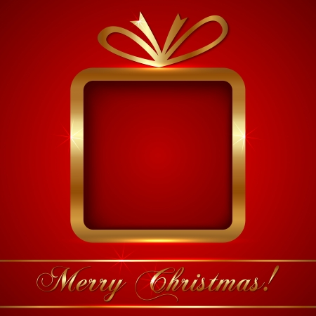 Christmas Greeting Card with Golden Gift on Red Background
