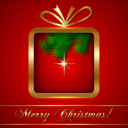 Vector Christmas Greeting Card with Golden Gift on Red Background Vector