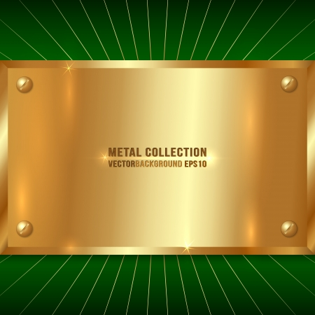 Vector Metallic Award Golden Plate with Screws on Green Background Çizim
