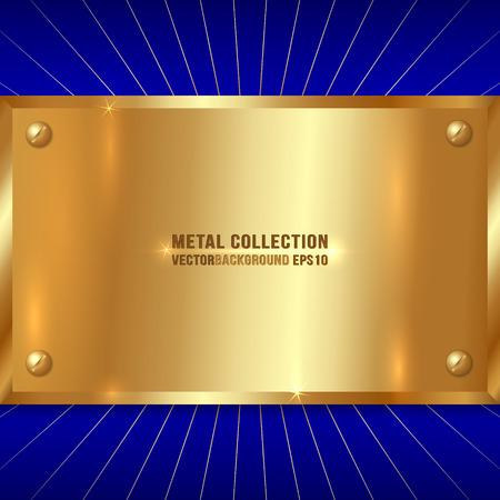 blue metallic background: Vector Metallic Award Golden Plate with Screws on Blue Background
