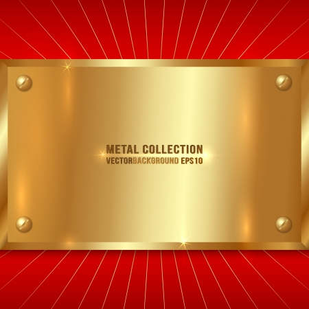 Vector Metallic Award Golden Plate with Screws on Red Background