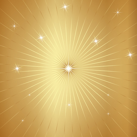 star background: Vector Golden Cosmos Background with star and  radial rays