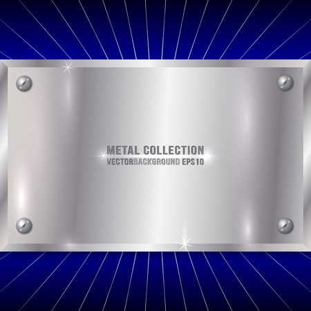 stainless: Vector Metallic Award Silver Plate with Screws on Blue Background