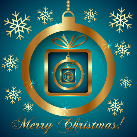 Vector Decorative Cyan Gold Christmas Greeting Card with SnowFlakes, Ball and Nested Gifts