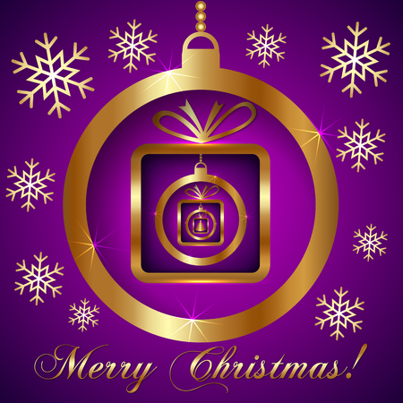 Vector Decorative Pink Violet Gold Christmas Greeting Card with SnowFlakes, Ball and Nested Gifts