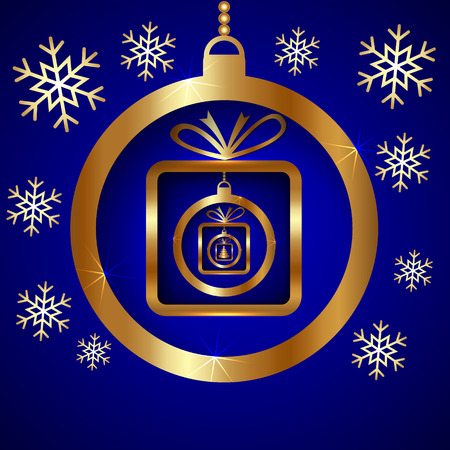 Vector Decorative Blue Gold Christmas Greeting Card with SnowFlakes, Ball and Nested Gifts