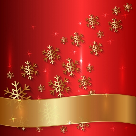 Vector Red Metallic Plate with Snowflakes, Particles and Ribbon Vector