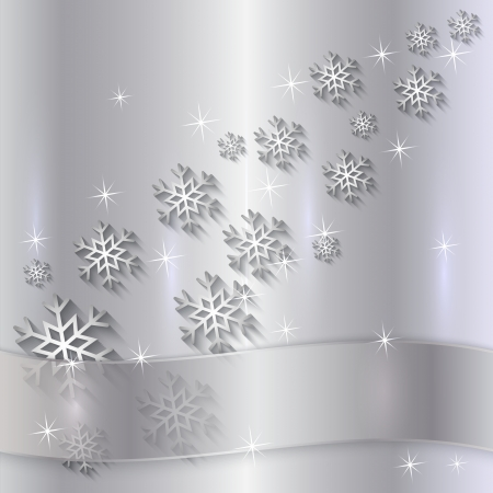Vector Silver Plate with Snowflakes, Particles and Ribbon