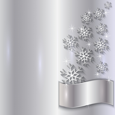 Vector Silver Invitation Card with Snowflakes, Particles and Curve