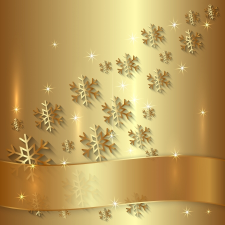 Vector Blue Metallic Plate with Snowflakes, Particles and Ribbon  イラスト・ベクター素材