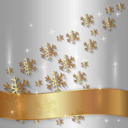 Vector Silver Metallic Plate with Snowflakes, Particles and Golden Ribbon