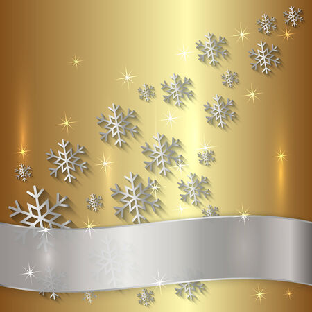 Vector Golden Metallic Plate with Snowflakes, Particles and Ribbon  イラスト・ベクター素材