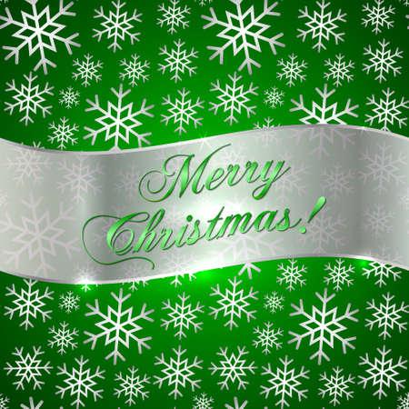 雪と挨拶リボンと緑の背景のベクトル
