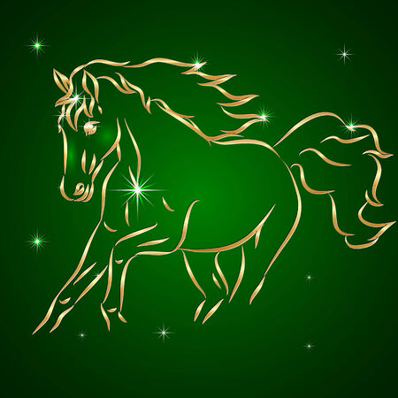 drawing: Vector Sketch drawing of Horse, Symbol of the New Year, on Green Background