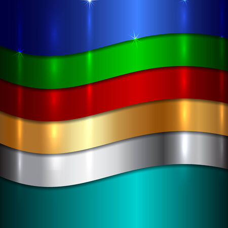 shiny metal background: Vector Abstract Metallic multicolor background with curves