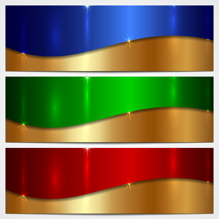 Vector Metallic Banner Set with Yellow, Green, Red and Gold textures