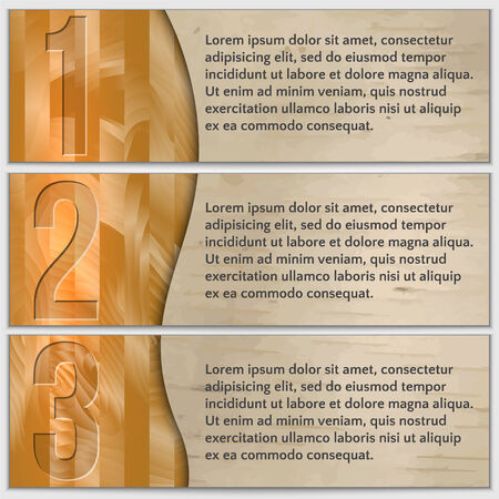 Vector wood textured infographics banner set with curve