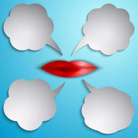 Vector speech bubble set  with lips on light blue background