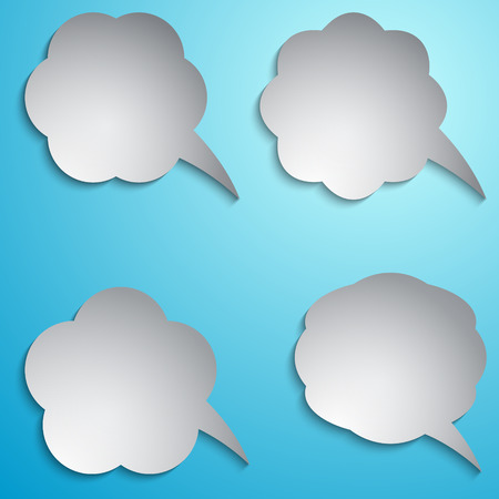 Vector speech bubble set on light blue background