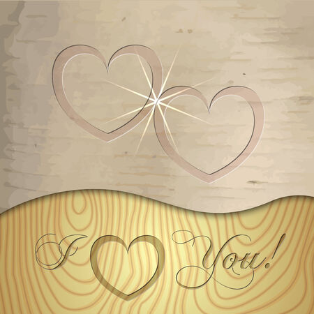 Vector Saint Valentines wooden background texture with hearts