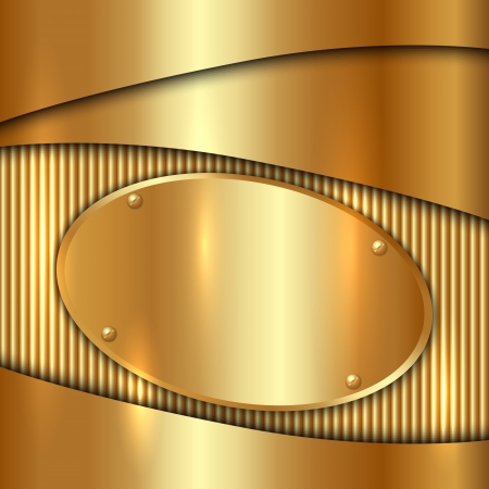 Vector metallic gold decorative  background with oval plate Illustration