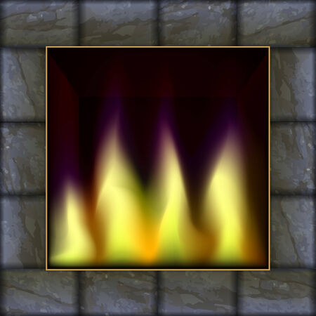 stone  fireplace: Vector illustration of fire in the  stone fireplace