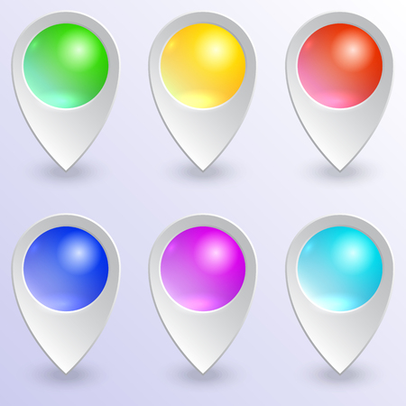 Vector set of empty  colored glass map pins Çizim