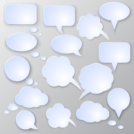 Vector speech bubble set on light grey background Vector