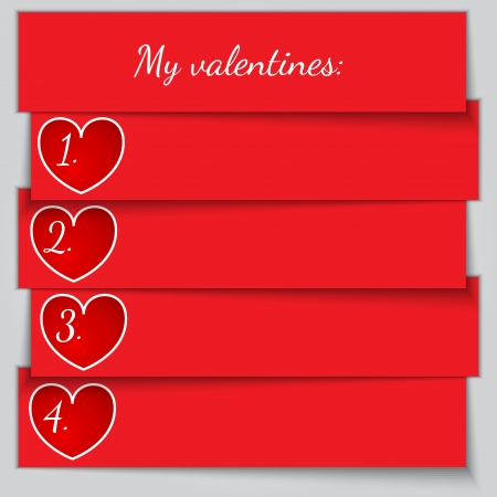enumerated: Vector red paper enumerated valentine list with hearts
