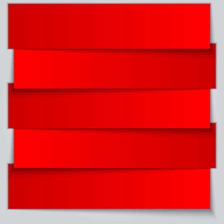 item list: Vector bright red paper banner item list
