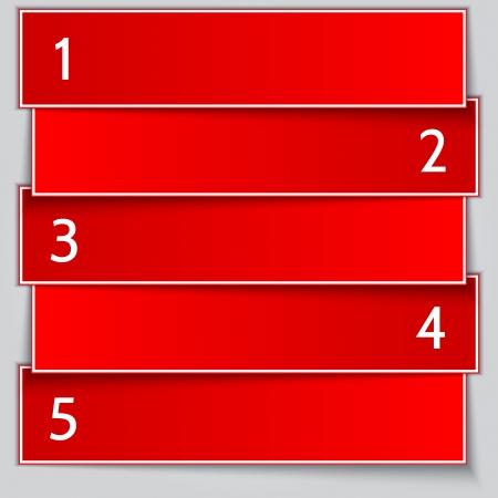 papier banner: Vector red Papier-Banner Liste mit Zahlen Illustration