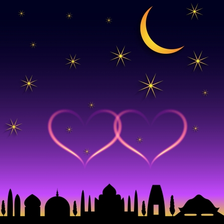 crescent: Vector oriental town night scene with crescent and hearts Illustration
