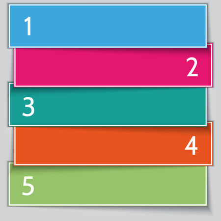 paper banner: Vector multi color paper banner list with numbers