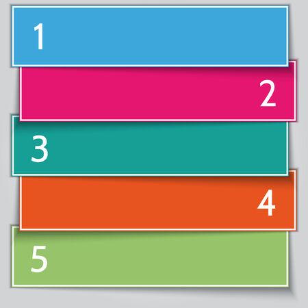 color paper: Vector multicolor papel Lista pancarta con n�meros Vectores