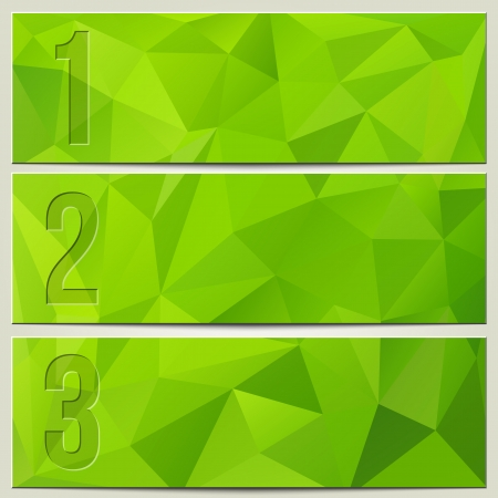 Vector infographic enumerated presentation light green textured banners Stock Illustratie
