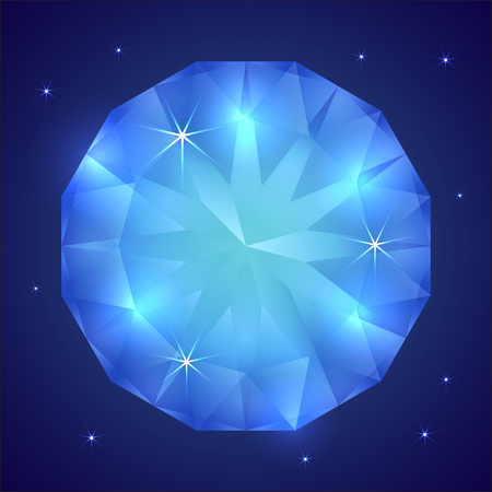 gemstone: Vector illustration of precious sapphire gemstone on dark background