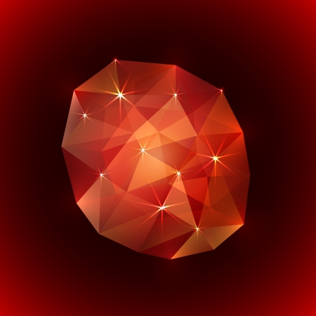 ruby gemstone: Vector illustration of precious ruby gemstone on dark background