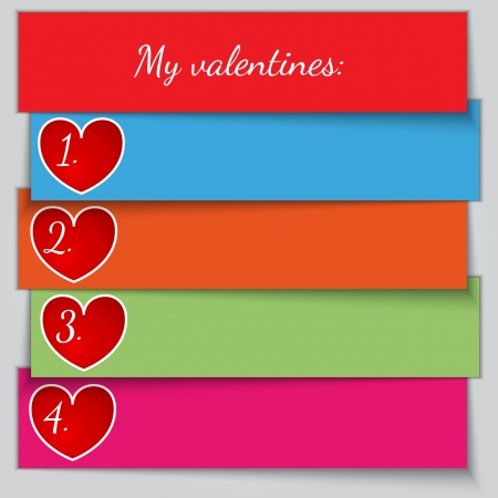 enumerated: Vector multicolor paper enumerated valentine list with hearts Illustration