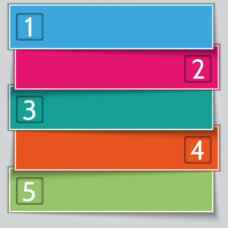 Vector multi color paper banner list with numbers