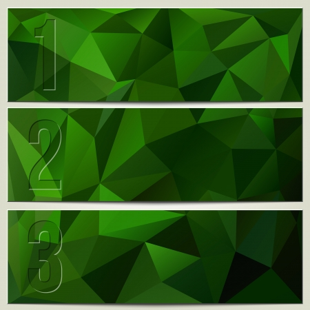 Vector infographic enumerated presentation dark green textured banners