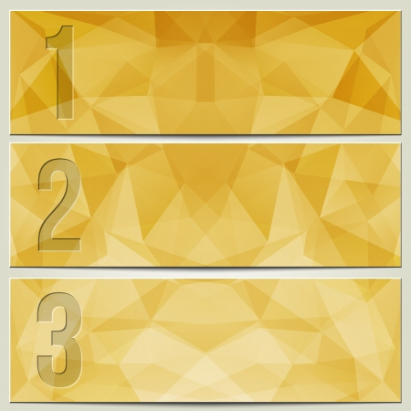 enumeration: Vector infographic enumerated presentation lgold yellow textured banners