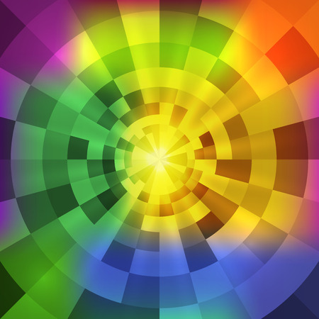 concentric: Vector abstract concentric bright multicolor tunnel background Illustration