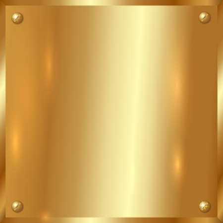 shiny metal background: Vector lage square golden plate with screws