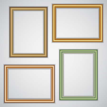 set of realistic plastic and metallic portrait frame templates on the wall Vector